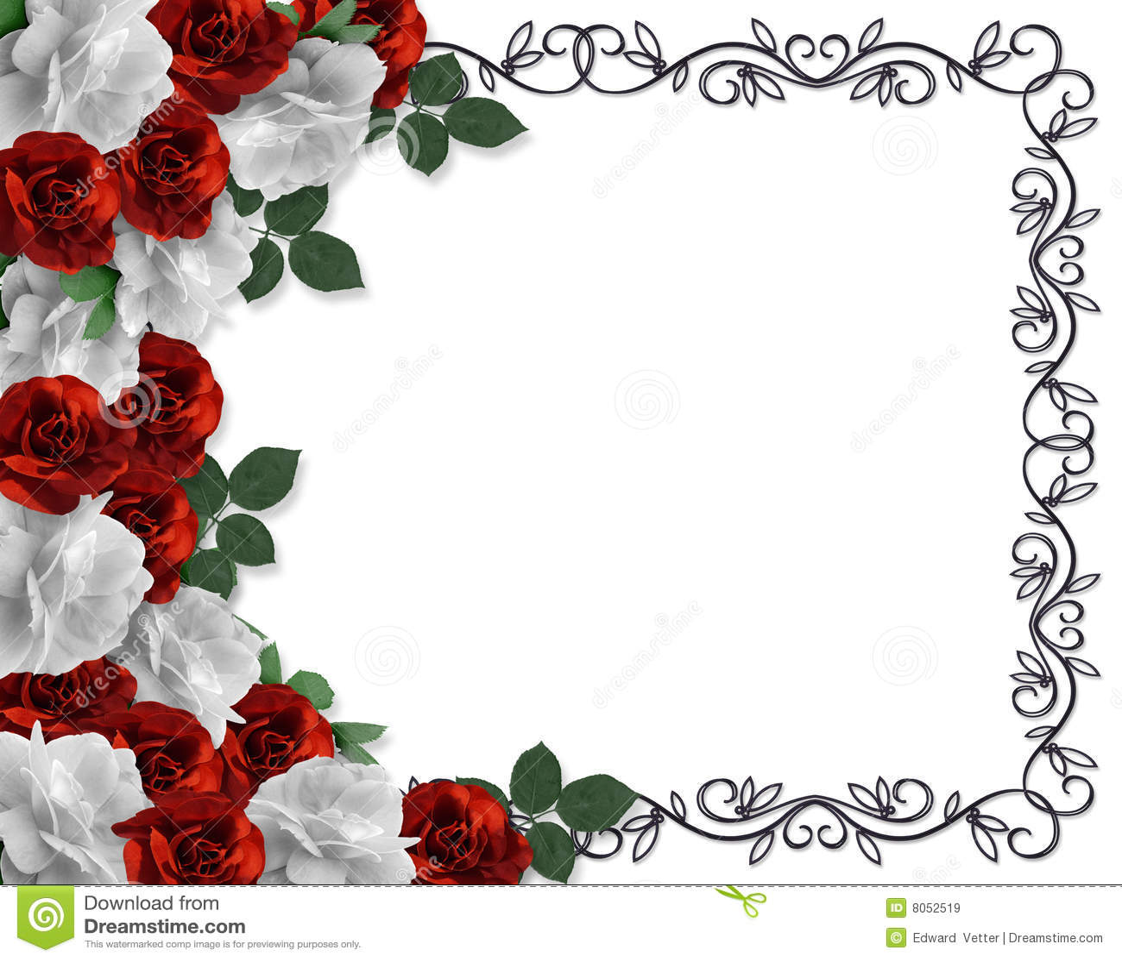 Wedding Borders: Wedding Border Red Roses Ornamental Stock Illustration