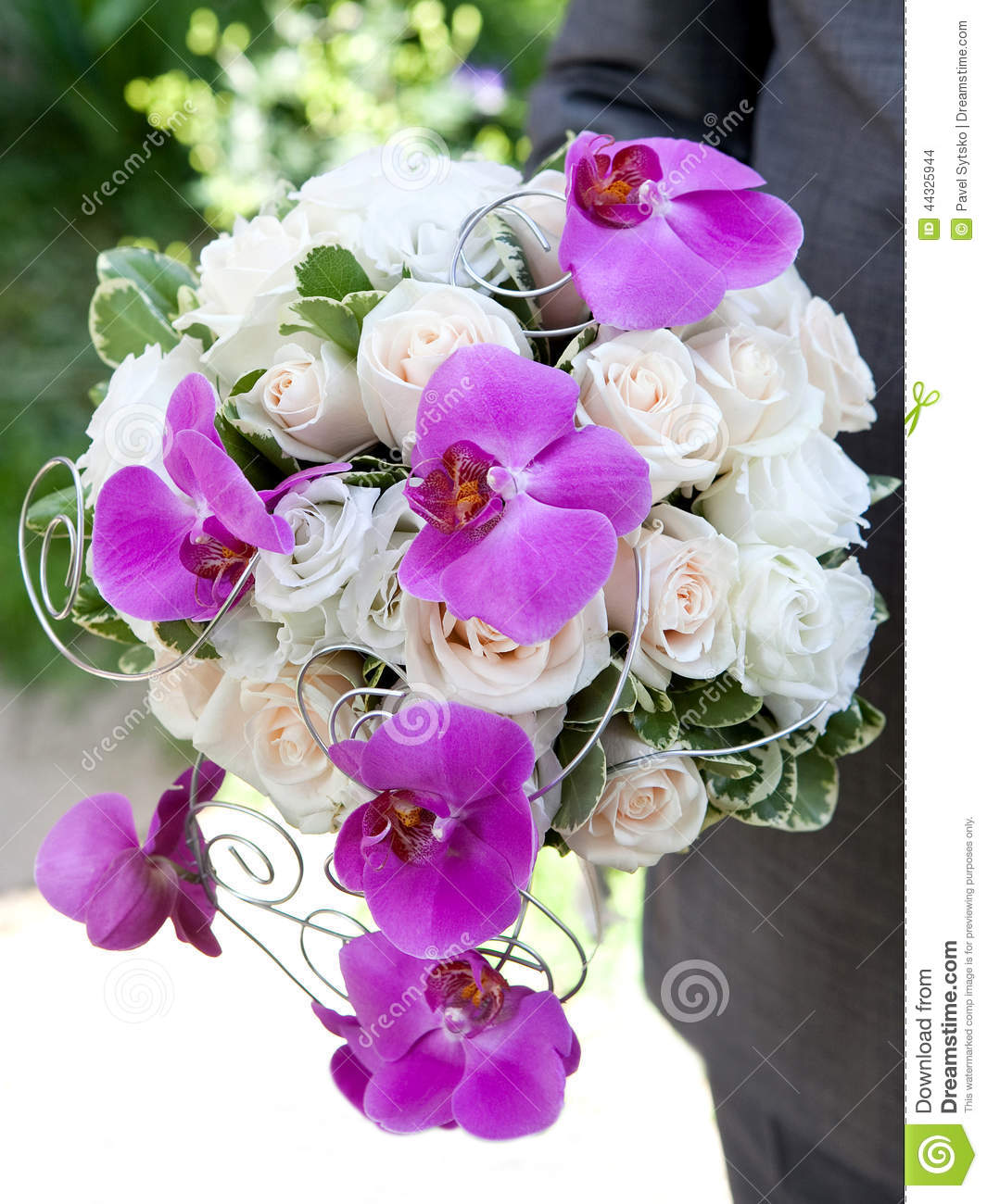 wedding bouquet bouquet of fresh flowers orchids and roses for the wedding ceremony stock. Black Bedroom Furniture Sets. Home Design Ideas