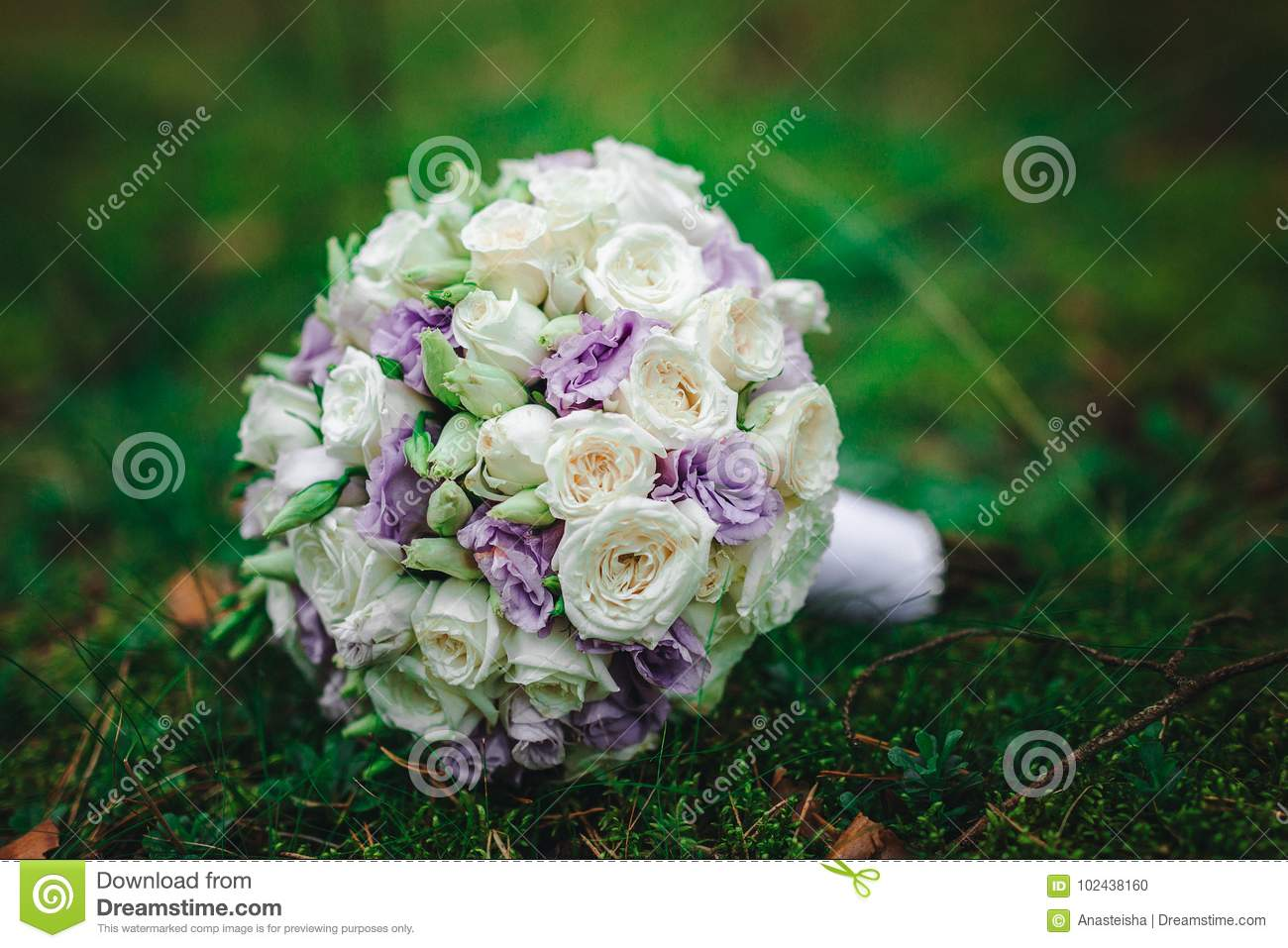 Wedding Bouquet Bride With Purple Flowers Stock Photo Image Of