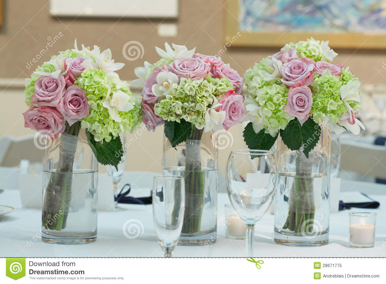 Formal dinner party table - Wedding Bouquet Centerpieces Royalty Free Stock Photo Image