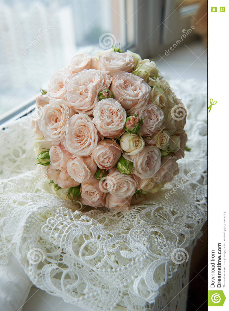 beautiful wedding bouquet roses and peonies on pink chair royalty free stock photo. Black Bedroom Furniture Sets. Home Design Ideas