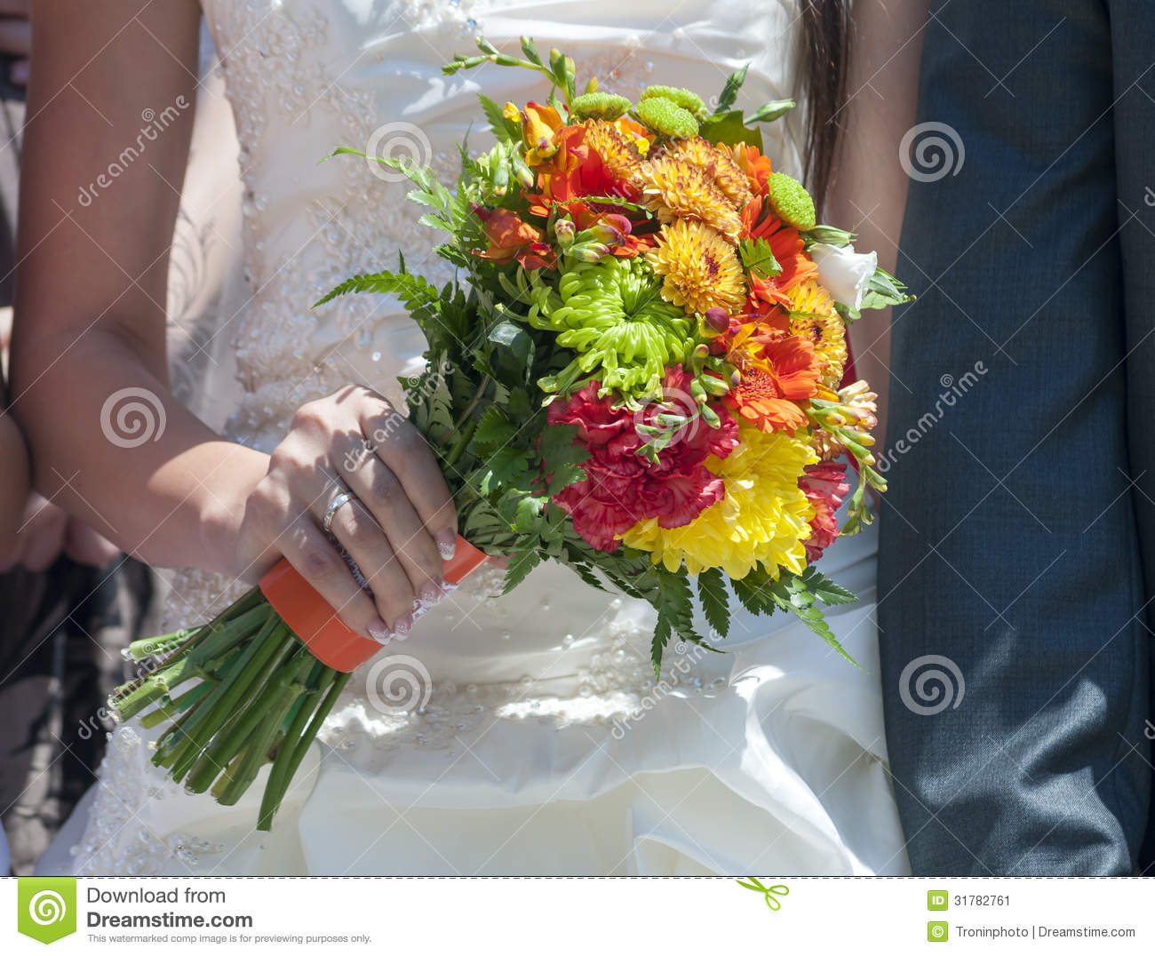 Wedding Bouquet Of Colorful Flowers Stock Image
