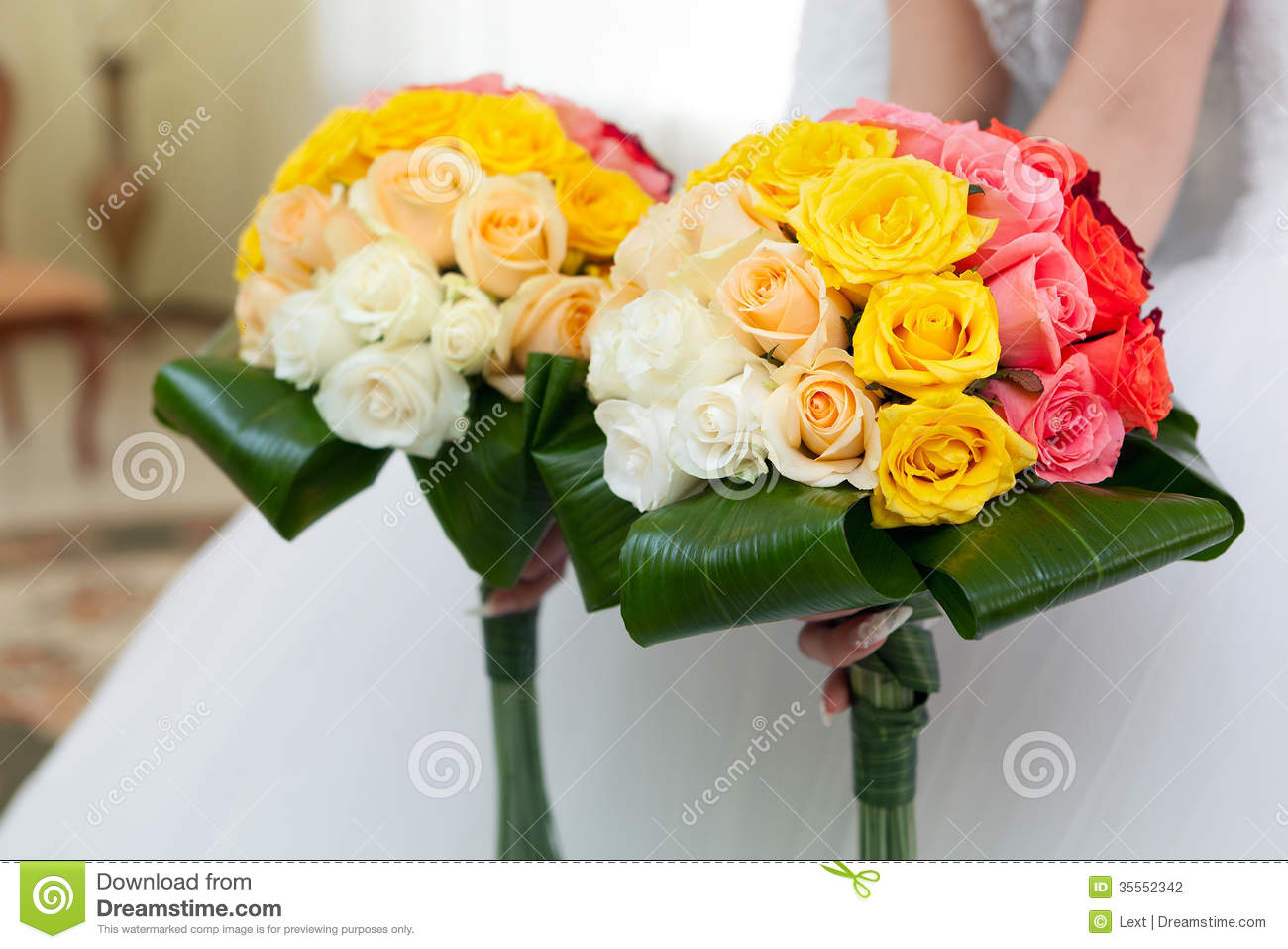 Wedding Bouquet From Flowers In Hands Of The Bride. Stock Photo ...