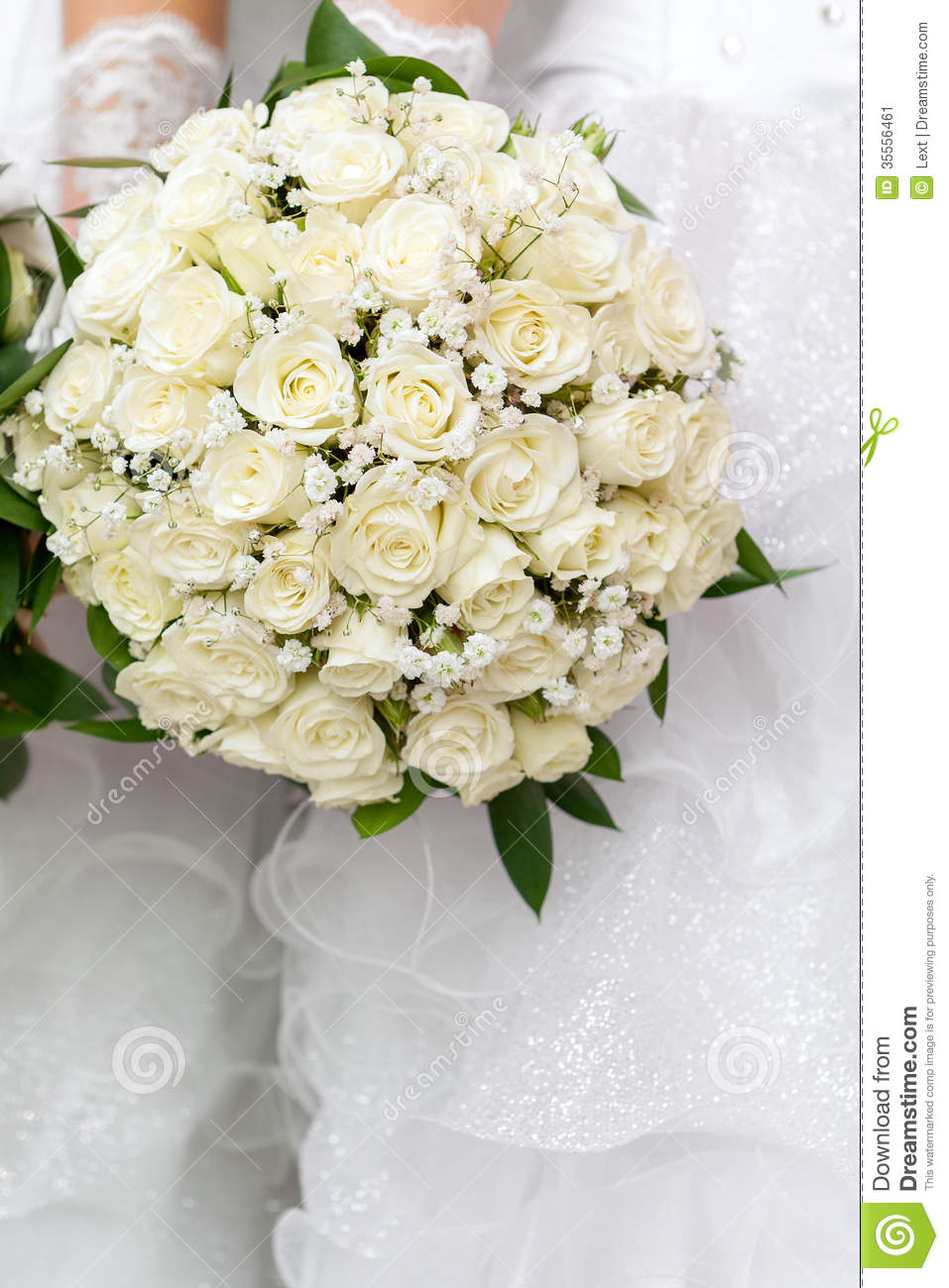 Wedding Bouquet From Flowers In Hands Of The Bride. Stock Image ...