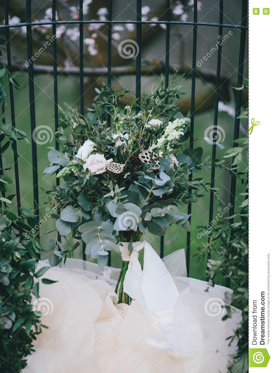 Wedding Bouquet In Green And White Colours Stock Image Image Of