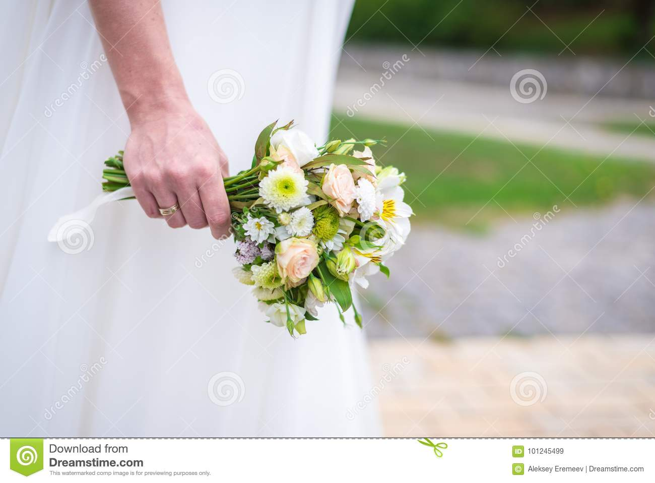 Wedding Bouquet In The Hands Of The Bride Stock Image Image Of
