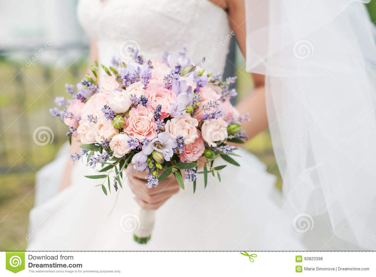 wedding bouquet of lavender roses and peonies stock photo image of ceremony dress 60823398. Black Bedroom Furniture Sets. Home Design Ideas