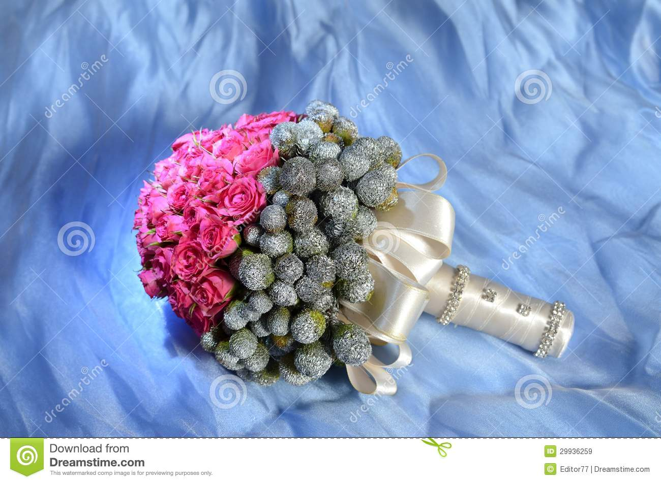 Wedding bouquet against blue background royalty free stock for How are blue roses made