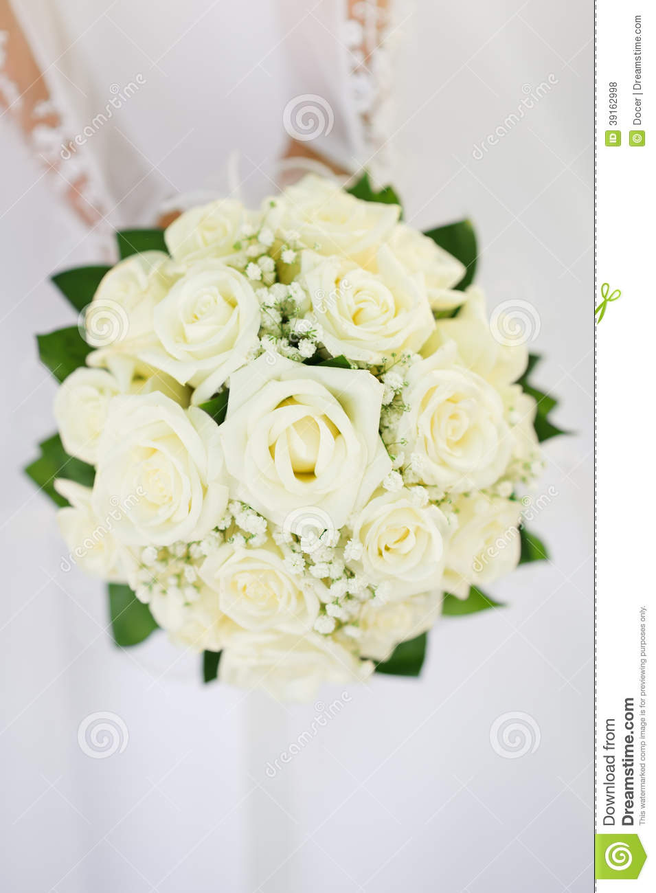 Wedding Bouquet With Many White Roses In Hands Stock Photo Image