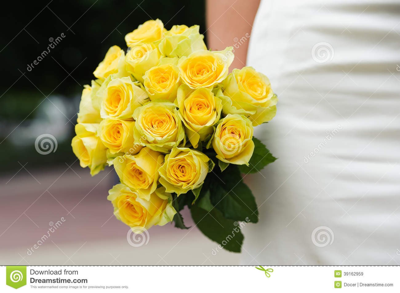 Wedding Bouquet With Many Yellow Roses Stock Image - Image of focus ...