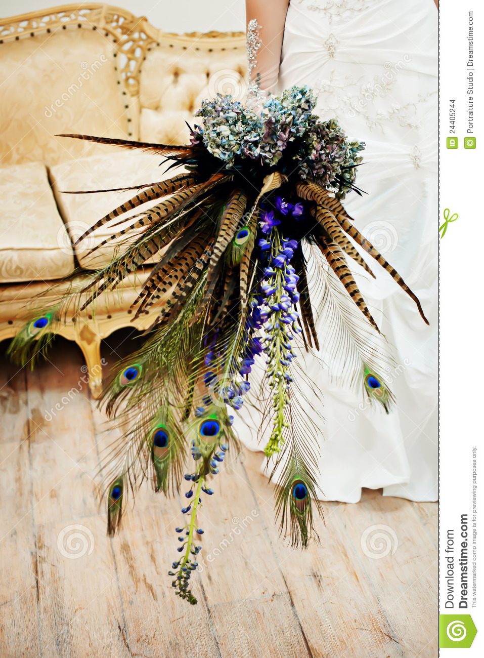 Wedding Bouquet With Peacock Feathers Stock Photo Image