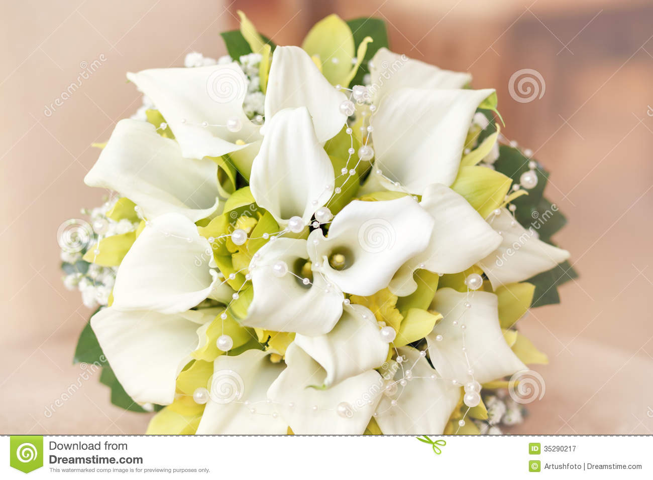 Wedding bouquet with pearls orchid and calla stock image image of download wedding bouquet with pearls orchid and calla stock image image of shallow izmirmasajfo