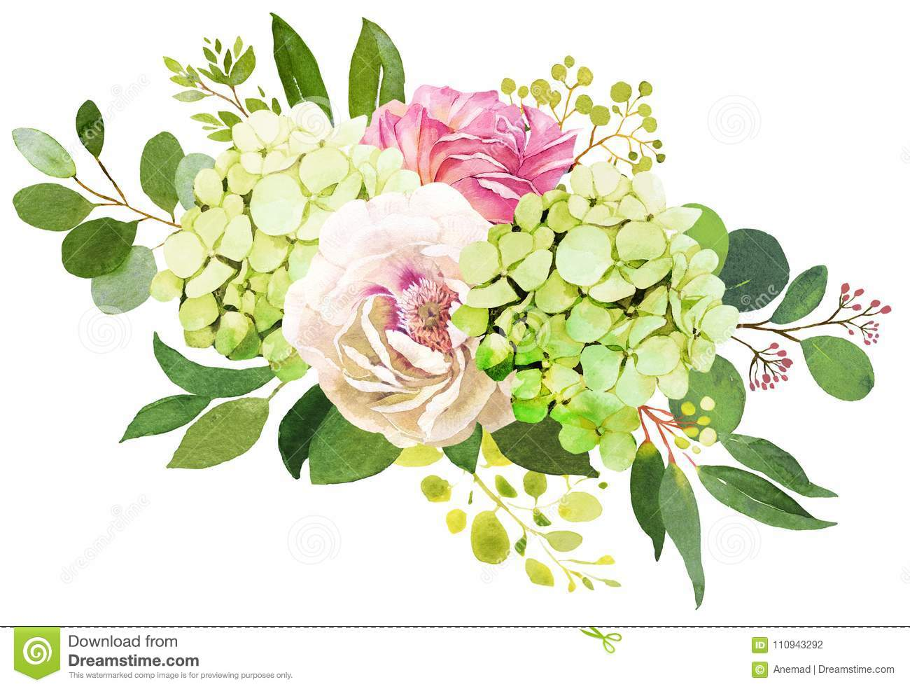 Wedding Bouquet Peony Hydrangea And Rose Flowers Watercolor Il Stock Illustration Illustration Of Floral Greenery 110943292