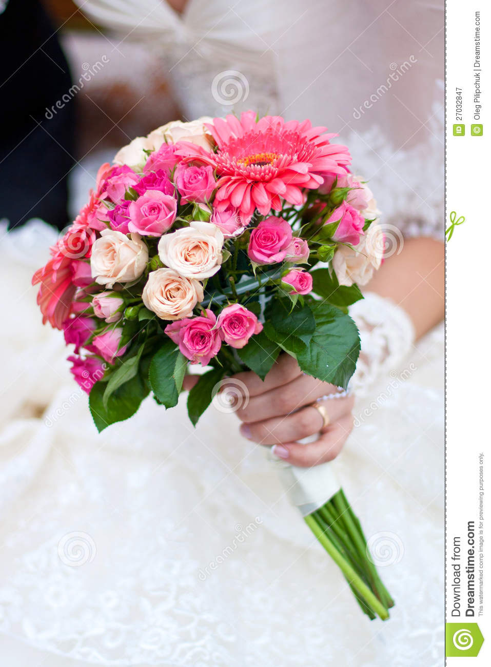 Wedding Bouquet With Pink Flowers Stock Image Image Of Vibrant