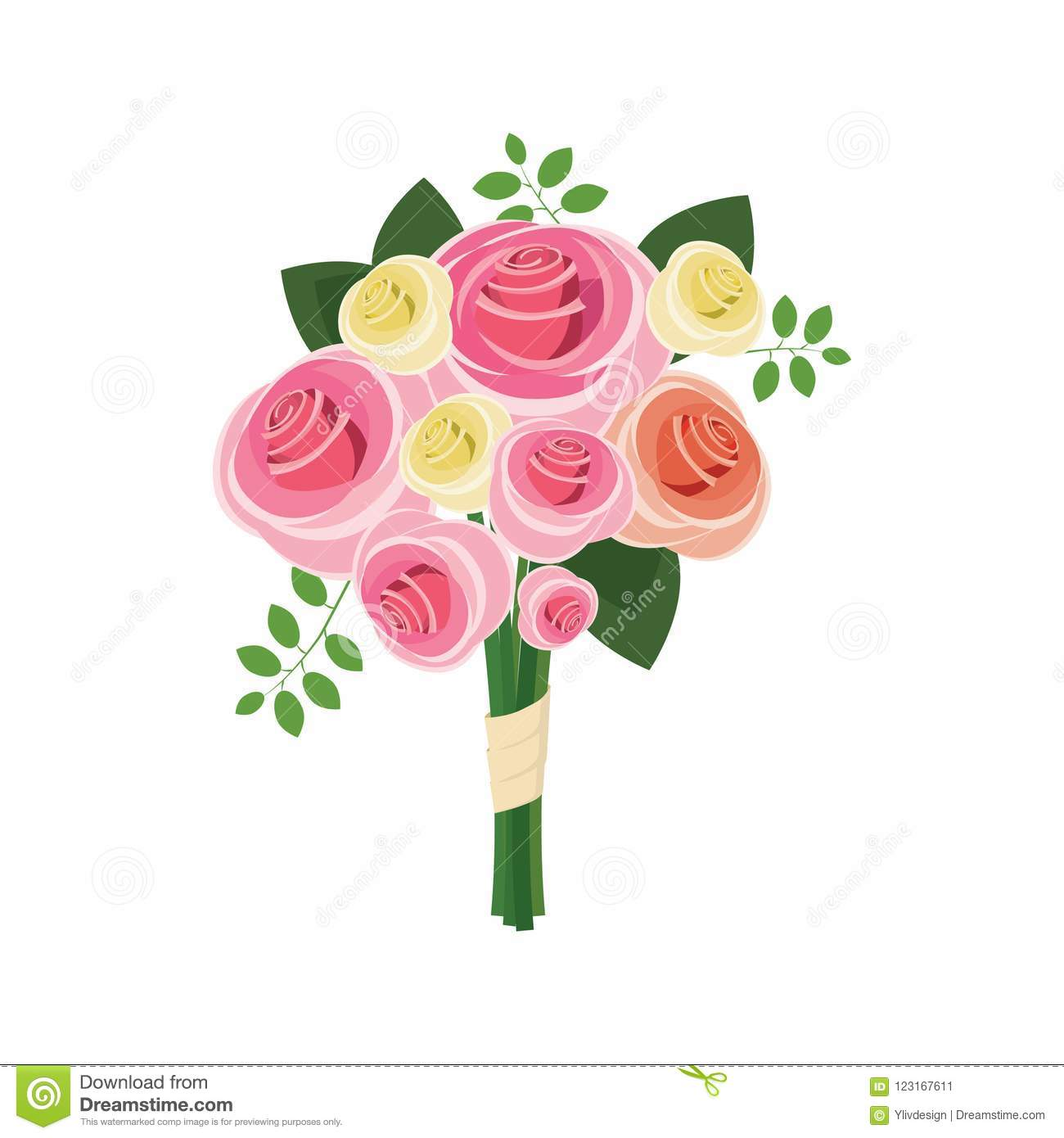 Wedding Bouquet Of Pink Roses Icon Cartoon Style Stock Illustration