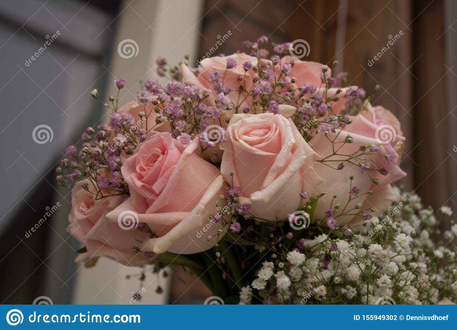 Wedding bouquet with pink roses.