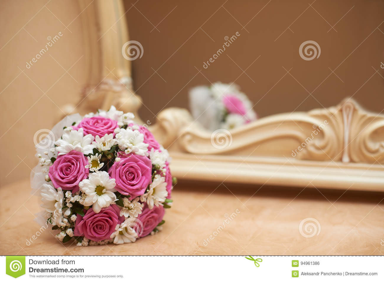 Wedding Bouquet Of Pink Roses And White Daisies Stock Photo Image