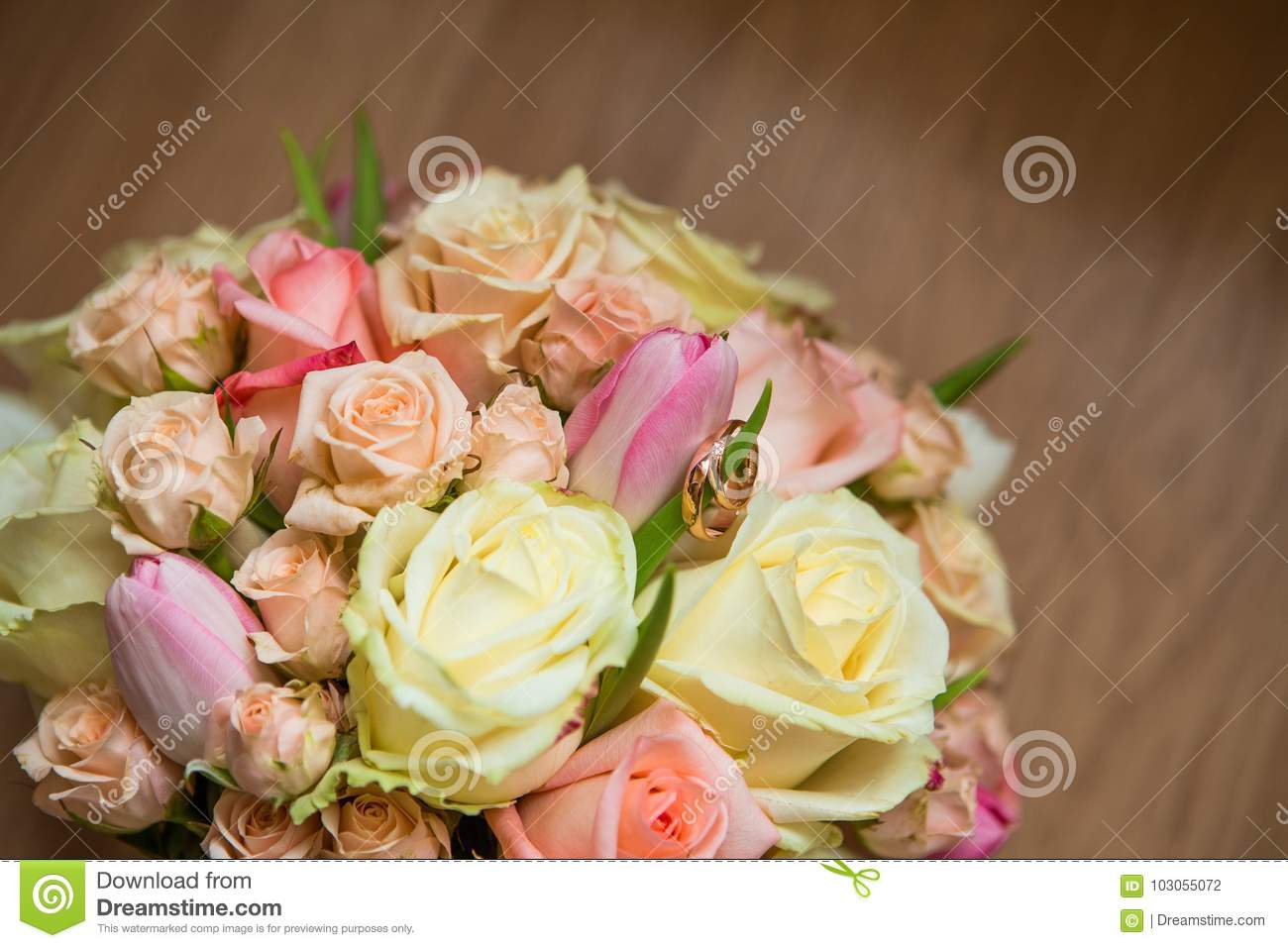 Wedding Bouquet With Pink White And Green Flowers Stock Photo