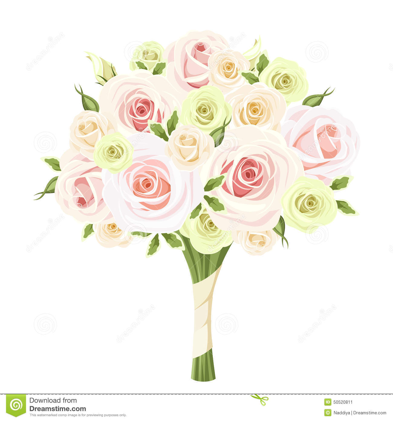Bridal Flower Bouquet Roses : Wedding bouquet of pink white and green roses vector