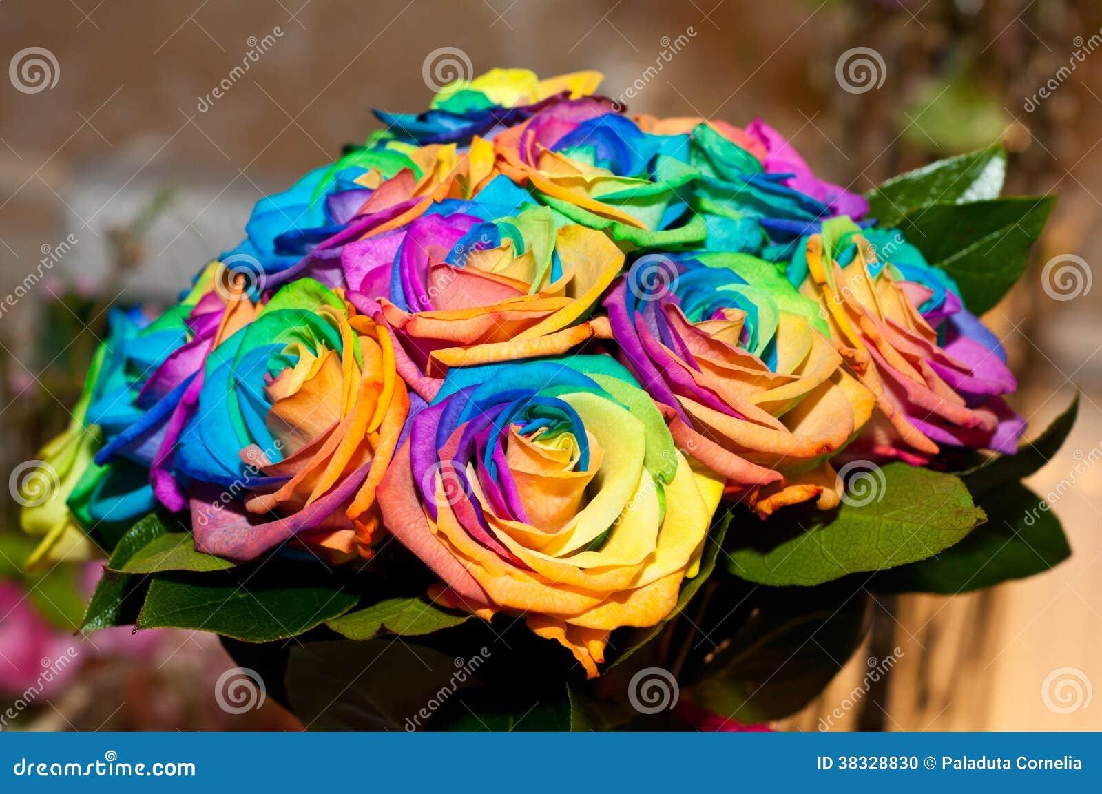 Wedding Bouquet With Rainbow Roses Stock Photo Image Of Elegant