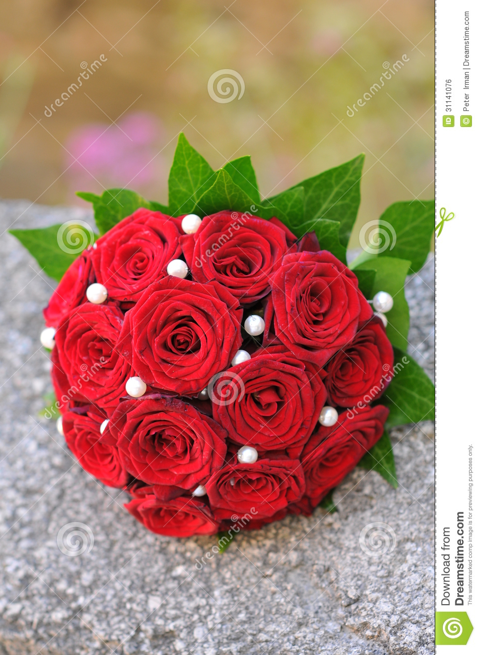 Wedding Bouquet With Red Roses Stock Photo Image Of Married Decor