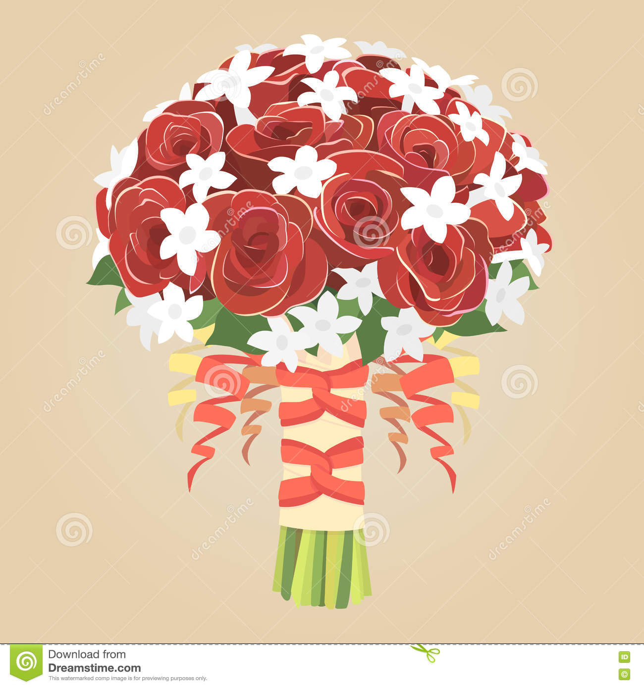 Wedding Bouquet Of Red Roses Stock Vector