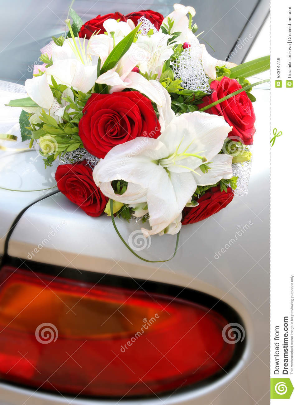 Wedding Bouquet Of Red Roses And White Lilies Stock Image Image Of
