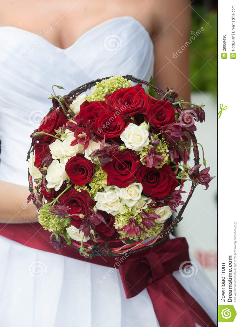 Wedding Bouquet With Red And White Roses Stock Photo Image Of