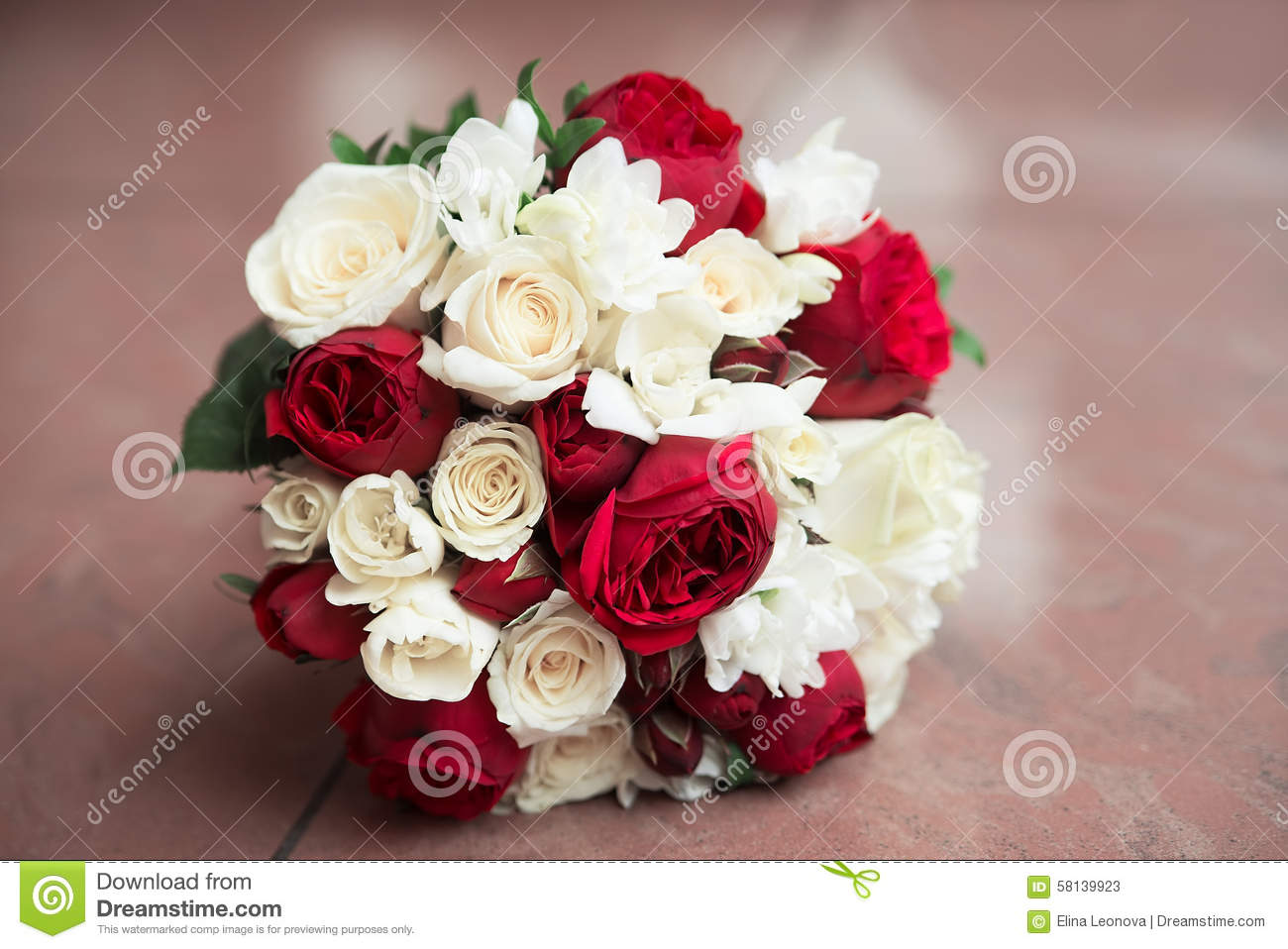 Wedding Bouquet With Red And White Roses Stock Image Image Of