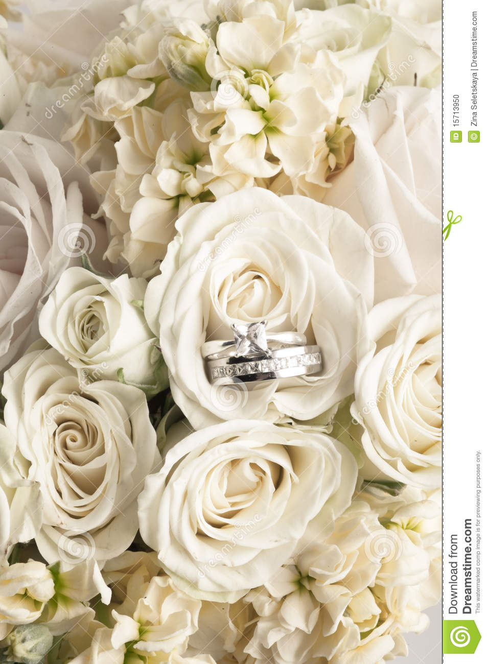 Wedding Bouquet With Rings Stock Photo Image Of Nobody