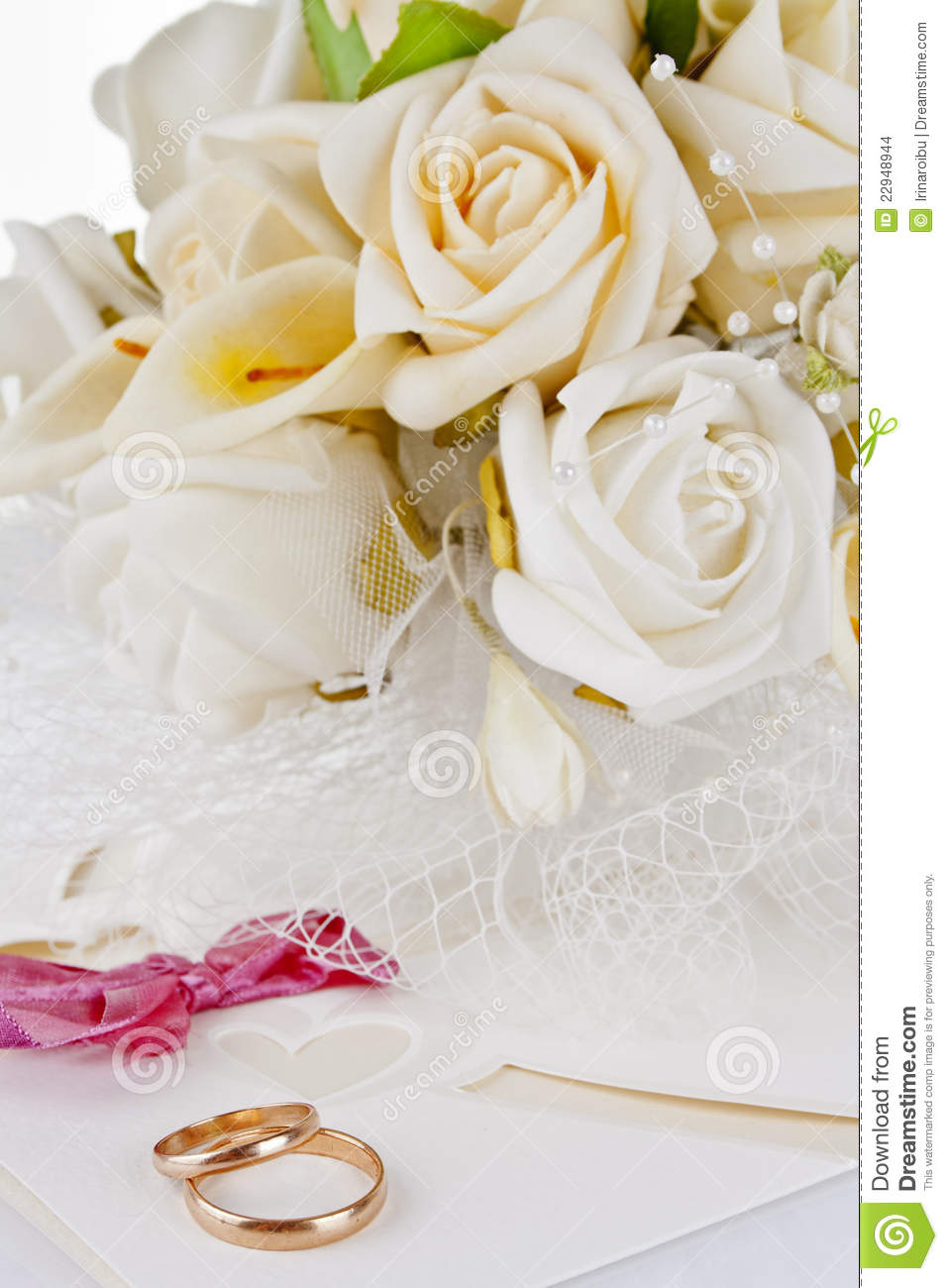 Wedding Bouquet And Rings For Valentine 39 S Day Stock Images Image