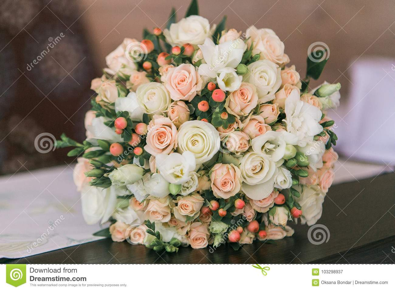 Wedding bouquet of small white and pastel pink roses and berries wedding bouquet of small white and pastel pink roses and berries mightylinksfo