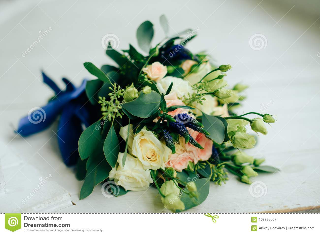 Wedding Bouquet With White Flowers And Green Leaves Stock Image