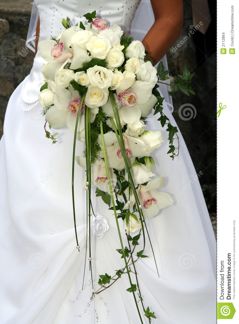 Wedding Bouquet From White Orchid Stock Photo Image Of Married