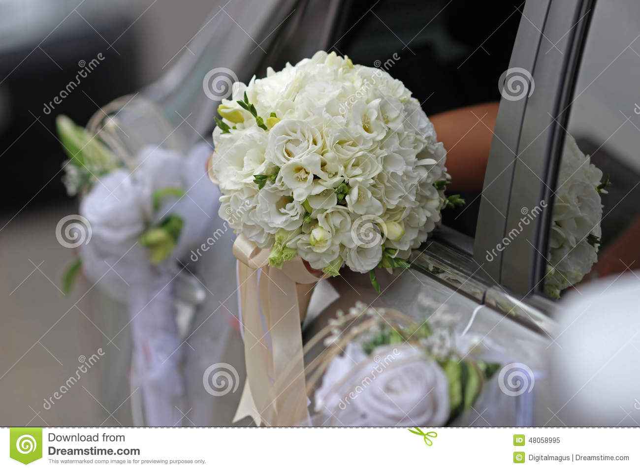 Wedding Bouquet With White Orchids And Roses Stock Image Image Of