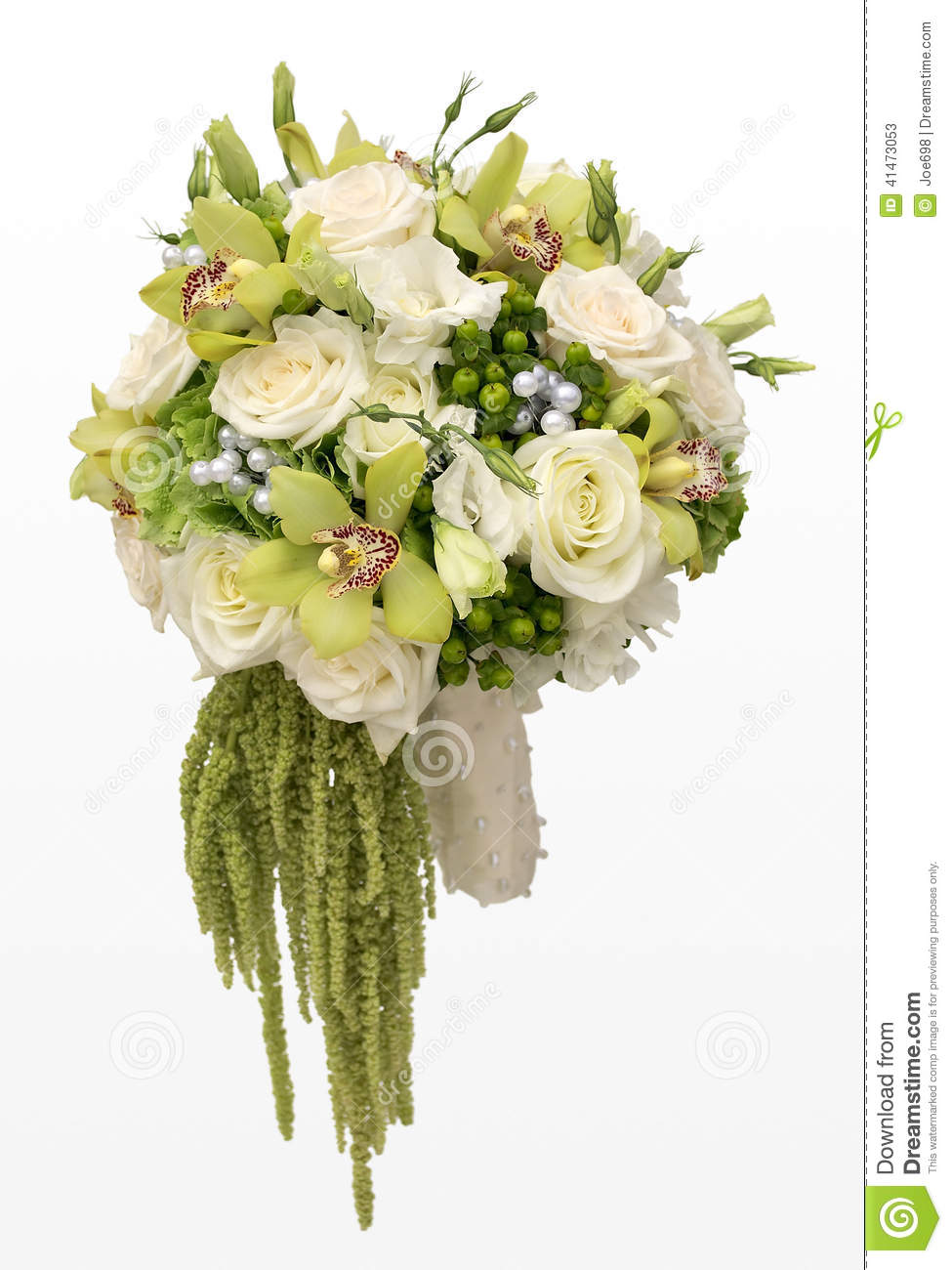 Wedding Bouquet Of White Roses And Green Orchids Stock Photo - Image: 41473053
