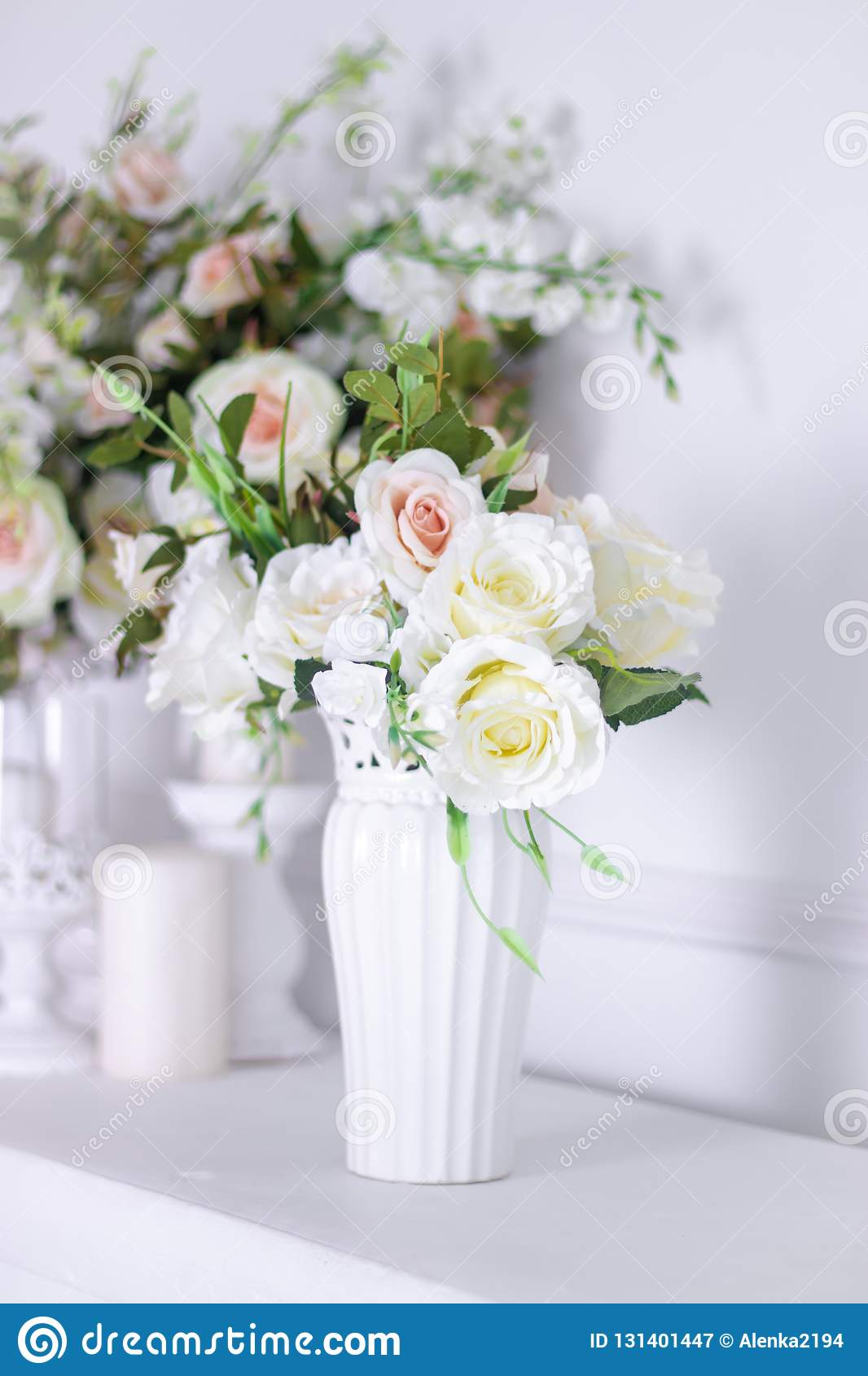 Wedding Bouquet Of White Roses In A Vase. Wedding