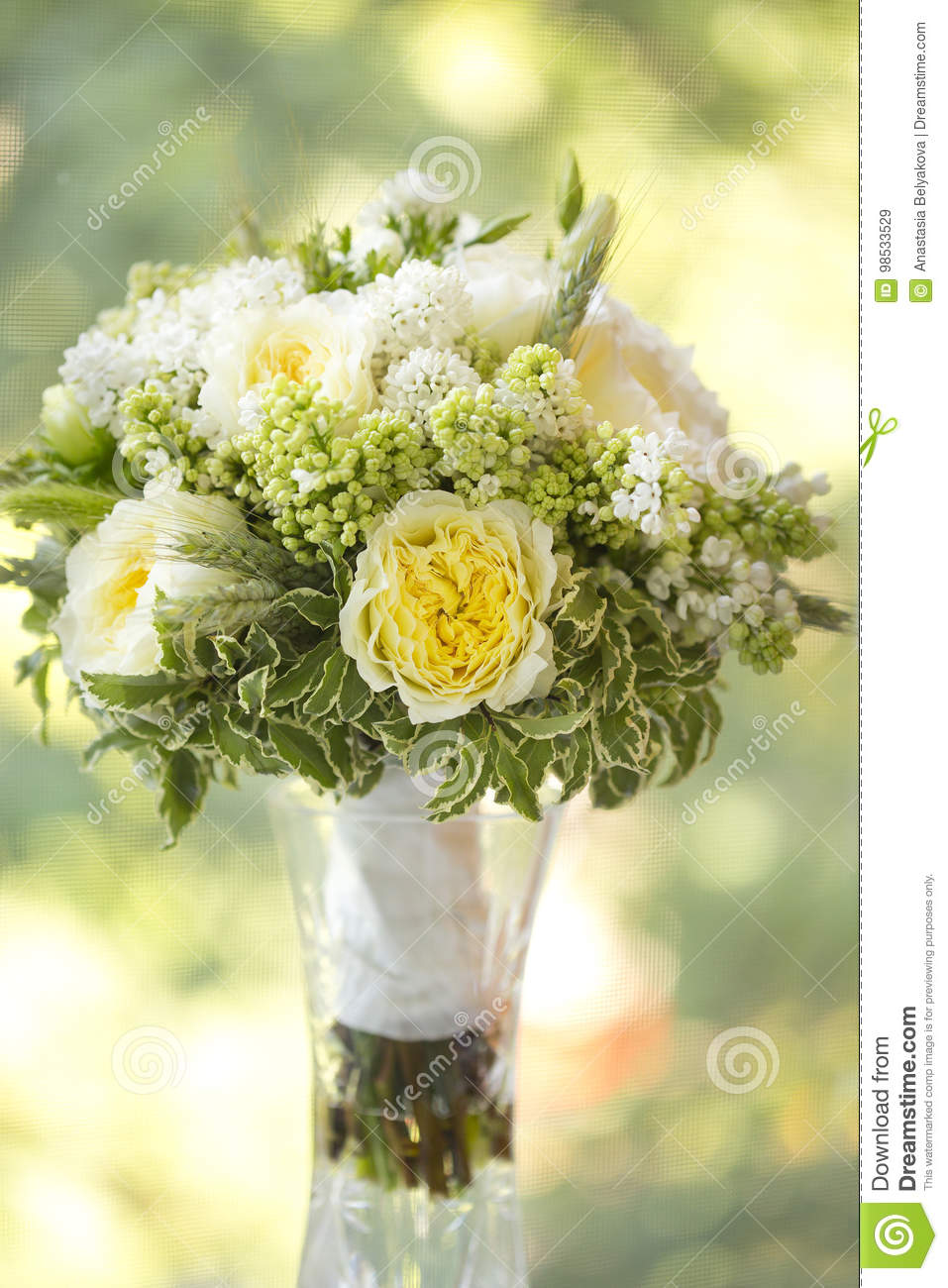 Wedding Bouquet Of White And Yellow Flowers Stock Image Image Of