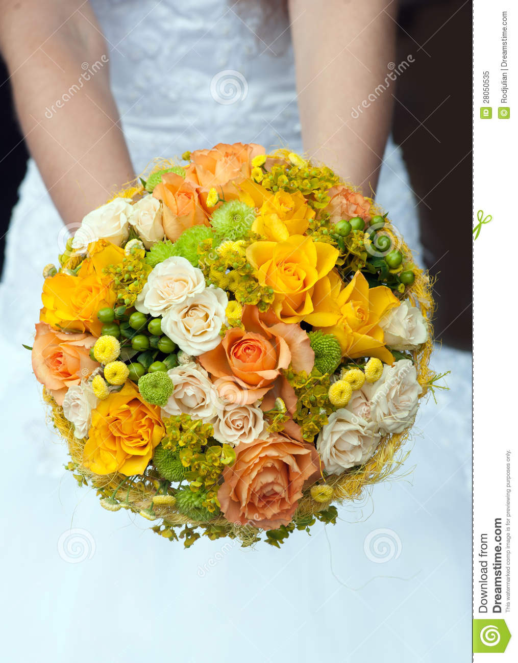 Wedding Bouquet With Yellow And Orange Roses Stock Image Image Of