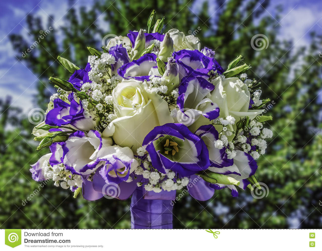 Wedding Bouquet With Yellow And Purple Flowers For Bride Stock Photo