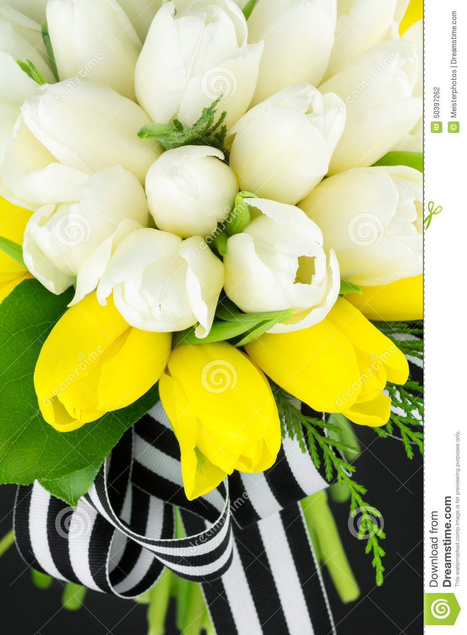 Wedding Bouquet Of Yellow And White Tulips Stock Photo Image Of
