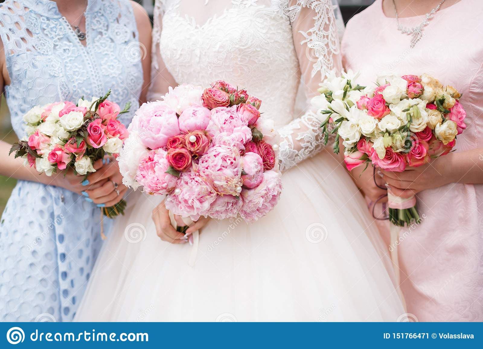 Wedding Bouquets At The Bride And Bridesmaids Stock Image Image