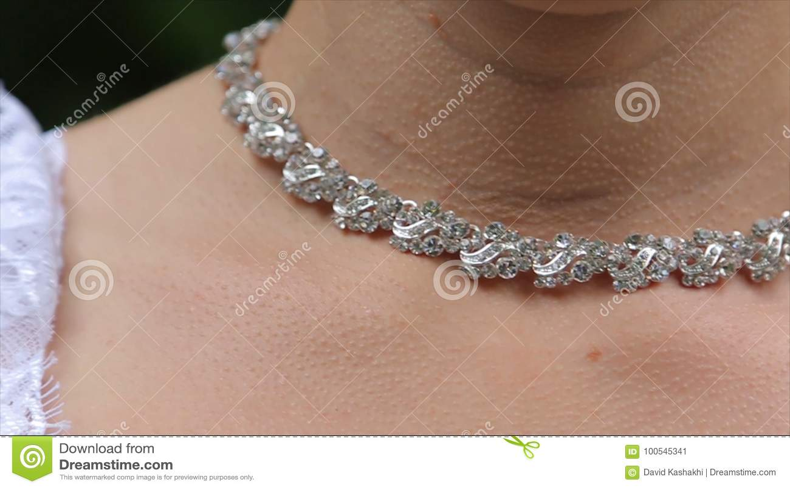 Wedding Bracelet And Necklace Woman Trying On Jewelry Bracelet