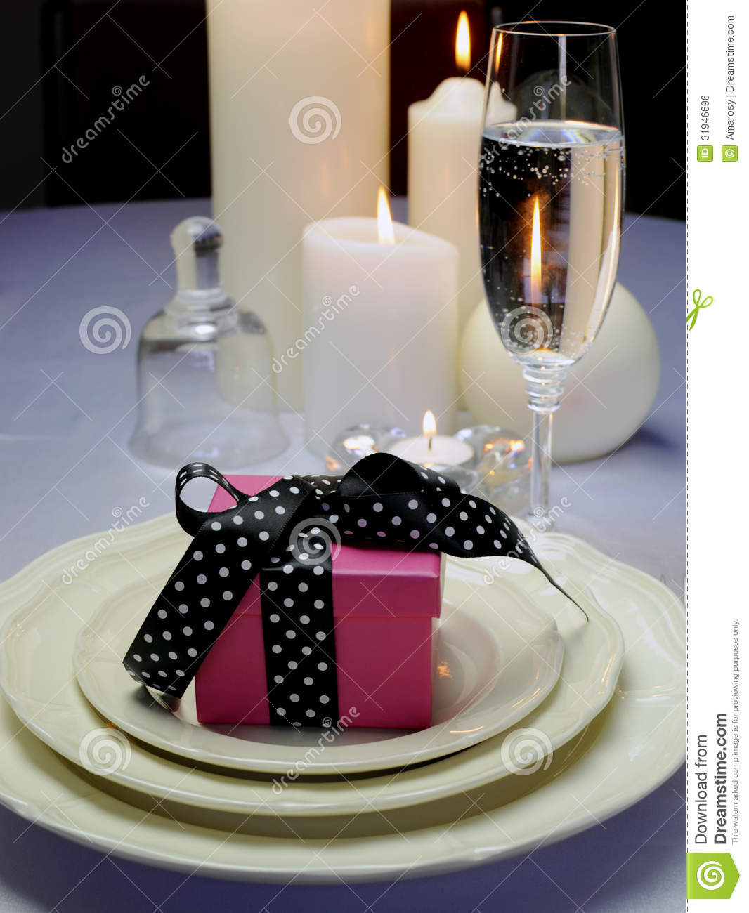 Wedding Breakfast Dining Table Setting With Pink Present  : wedding breakfast dining table setting pink present gift close up detail black polka dot ribbon fina china 31946696 from dreamstime.com size 1066 x 1300 jpeg 122kB