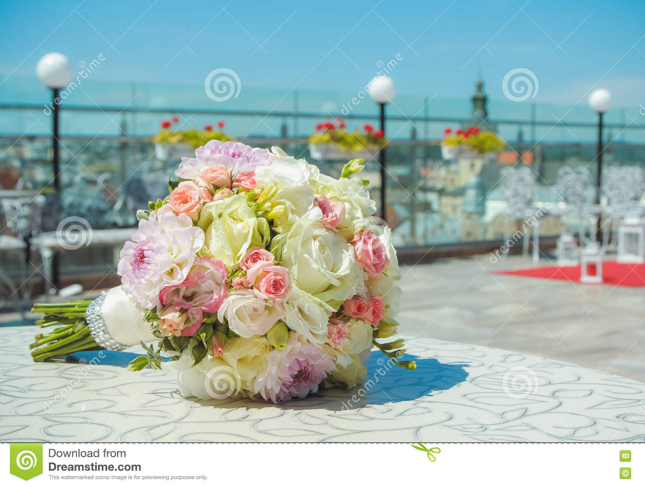 Wedding Bridal Bouquet Colorful Flowers Pink White Roses And