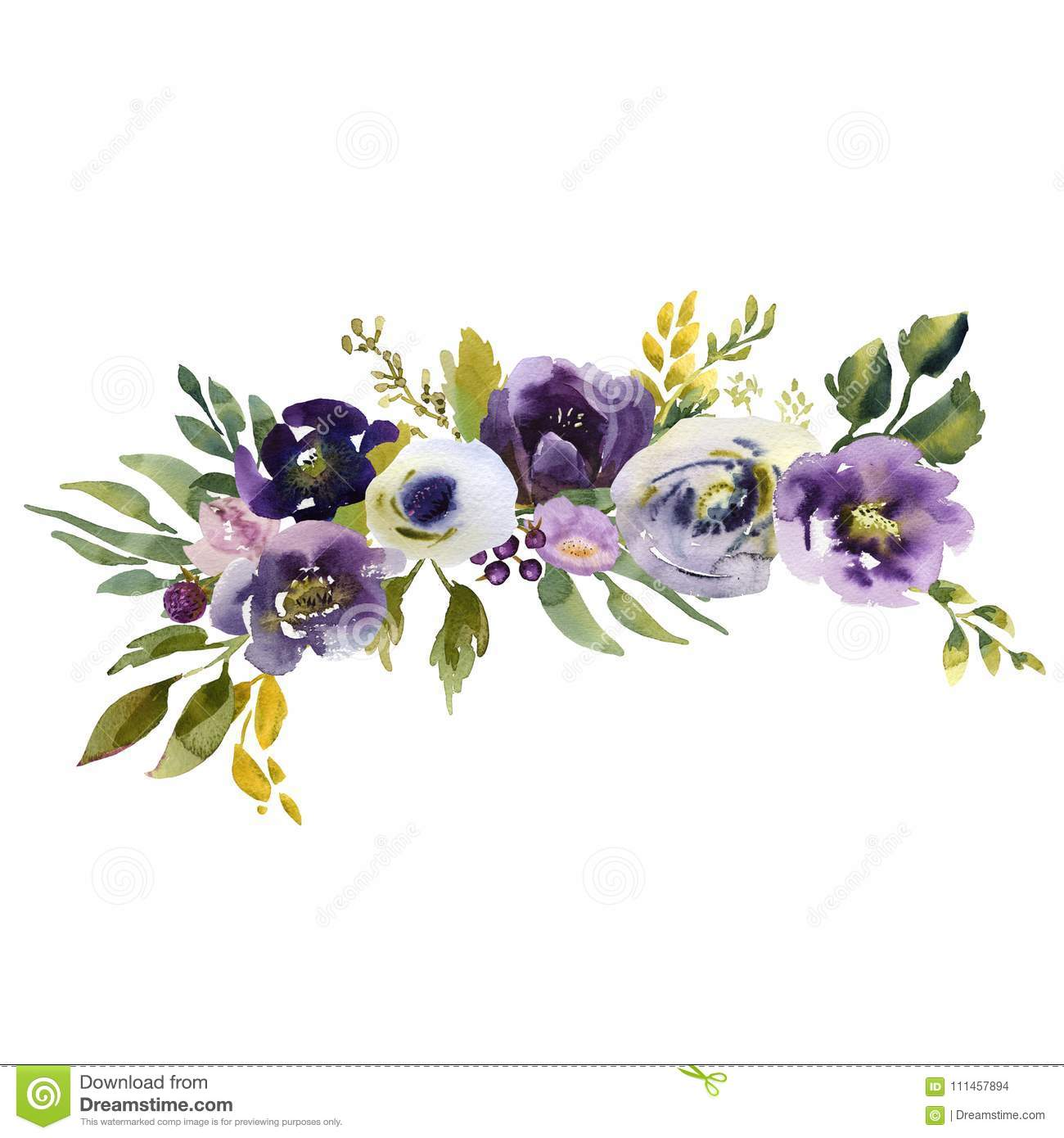Wedding Bridal Bouquet Green Blue And Purple Flowers Ornament