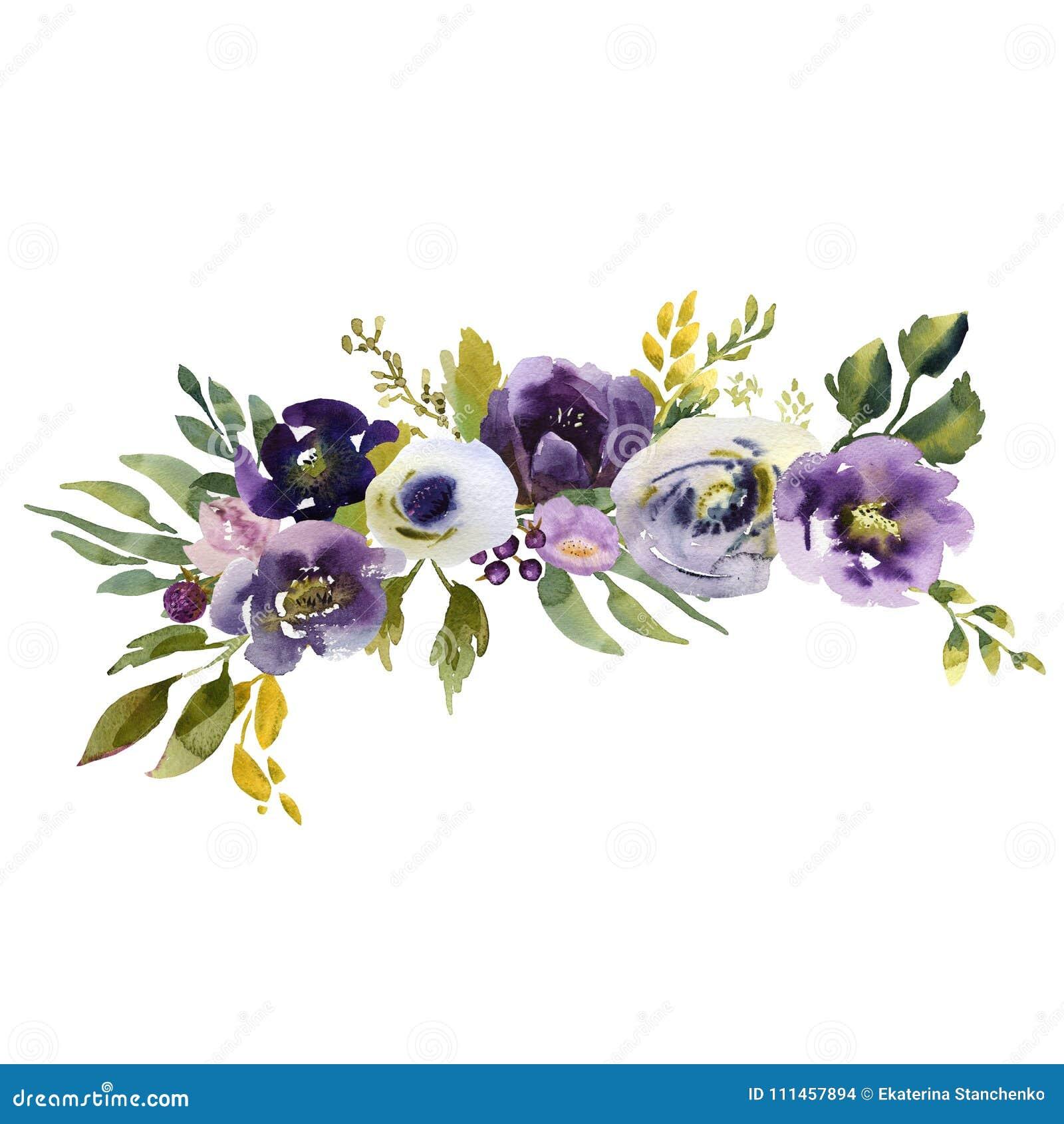Purple Flower Wedding: Wedding Bridal Bouquet. Green Blue And Purple Flowers