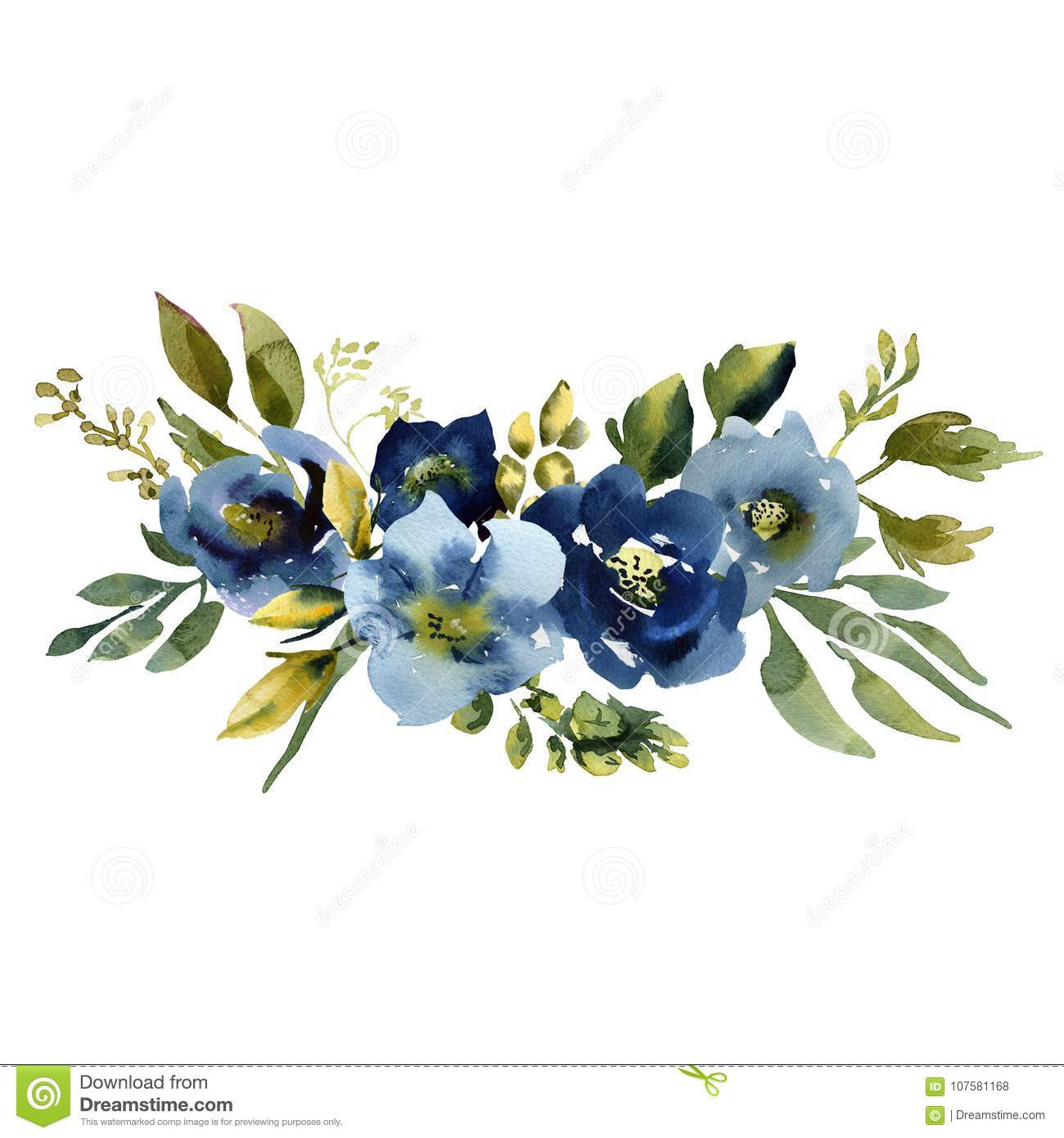Small Blue Flowers For Weddings: Wedding Bridal Bouquet. Green Blue And Purple Flowers