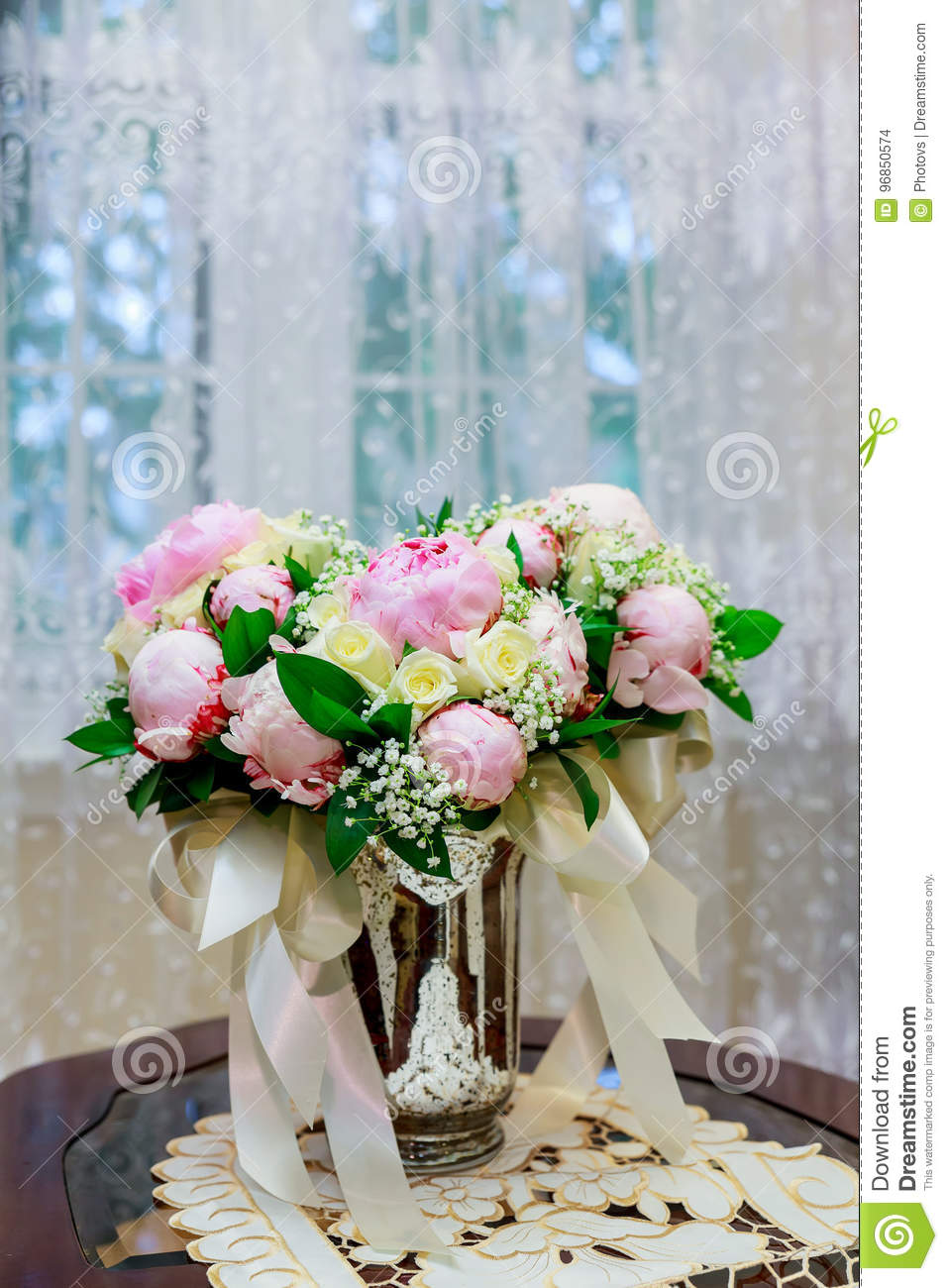 Wedding Bridal Bouquet With White Orchids Daisies And Red Berries