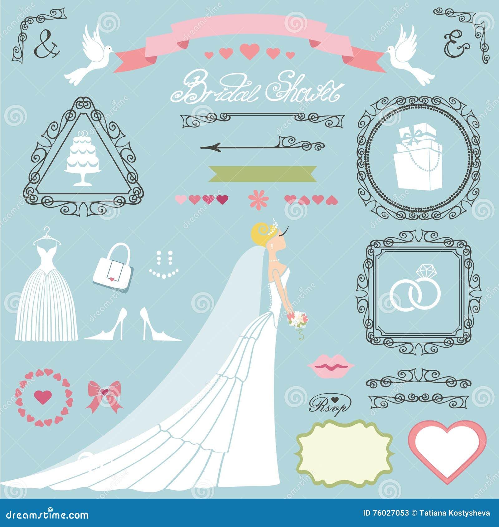 wedding bridal shower decor setbrideswirlsiconsribbons